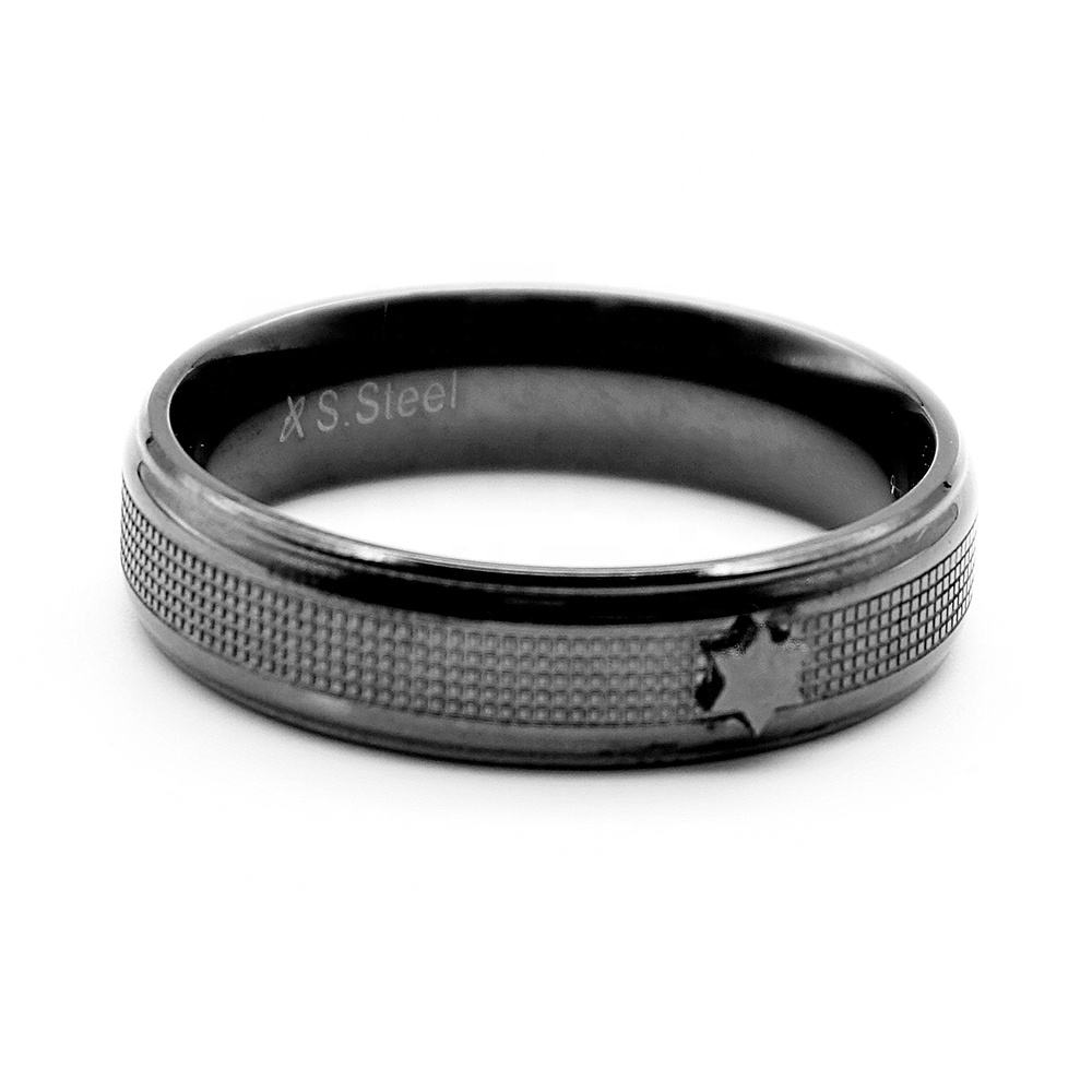 Fashion Design Stainless Steel Black Gun Plated TAT Star Ring