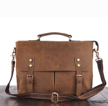 China manufacturer 13 inch computer messenger bags handmade men brown briefcase leather business bag doctor leather bag