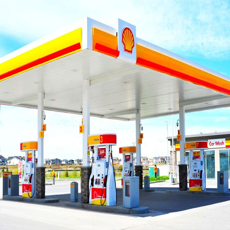 Customized Toll Station Steel Canopy Roof Petrol Gas Station Structure
