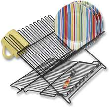 Eco-Friendly Black Kitchen Storage Stainless Steel Dish Drying Rack For Plates