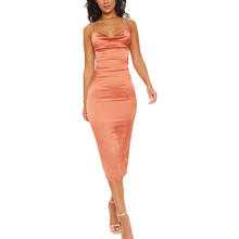 Women clothing new fashion satin midi dresses ladies bandage sexy dress