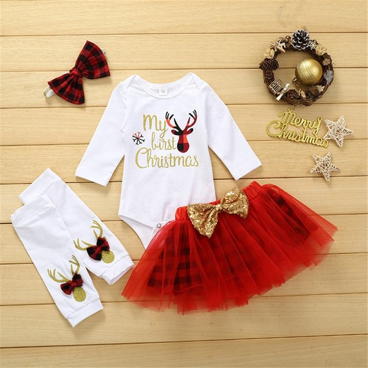 romper dress headband socks in one set US Christmas dress New Clothes Christmas New year baby clothes