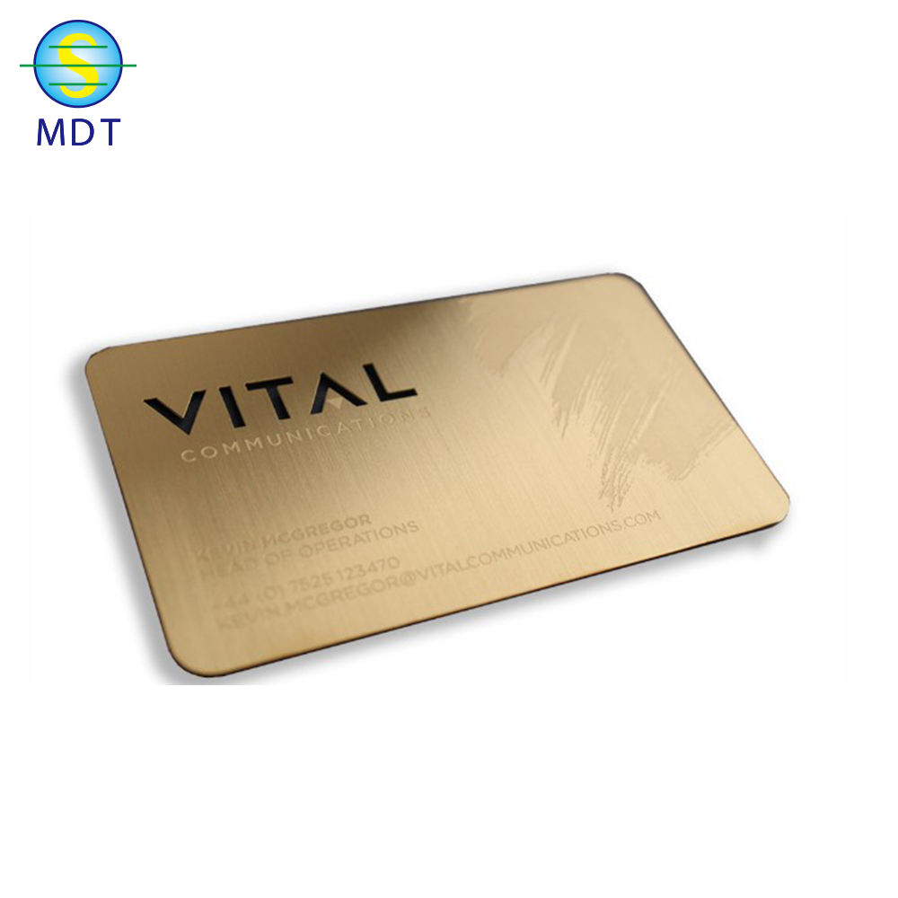 Gold engraved metal stainless steel cards