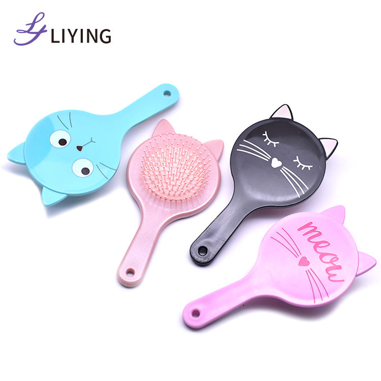 Customize kids hair color brush cat shape hair brush hot sale on line