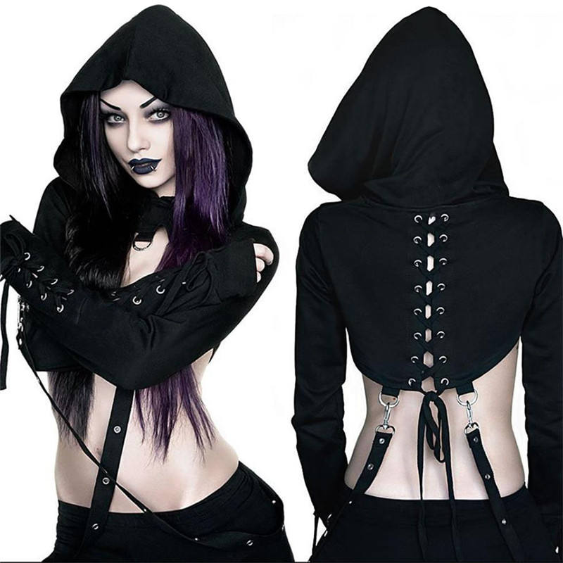 Sexy Women Ttube Top Punk Victorian Gothic Black Long Sleeved Blouse