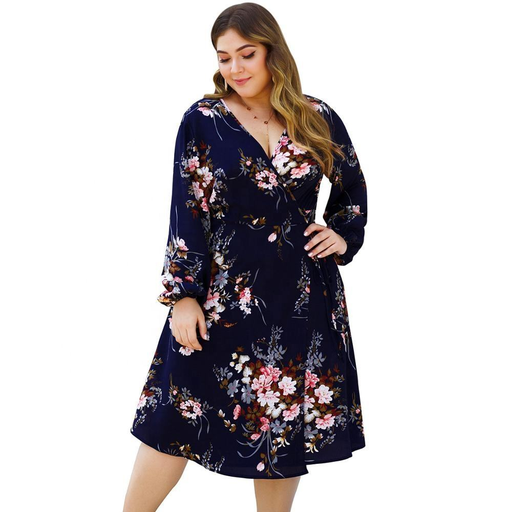 Loose [ Long Maxi Dress ] Original Design Long Sleeve V-Neck Lace High Waist Plus Size Floral Print Maxi Dress