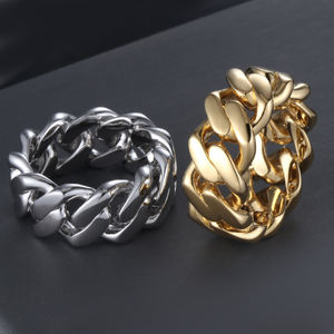 Solid Gold Plated Stainless Steel Cuban Link Ring, Micro Chain Link Rings