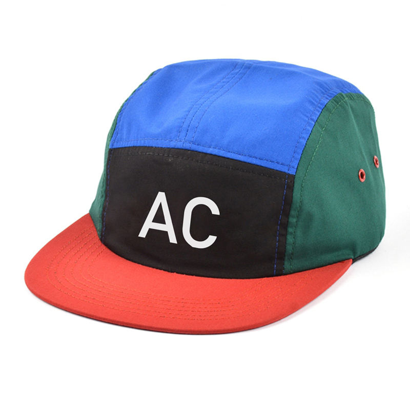 custom logo screen printed hat, multi color nylon 5 panel cap