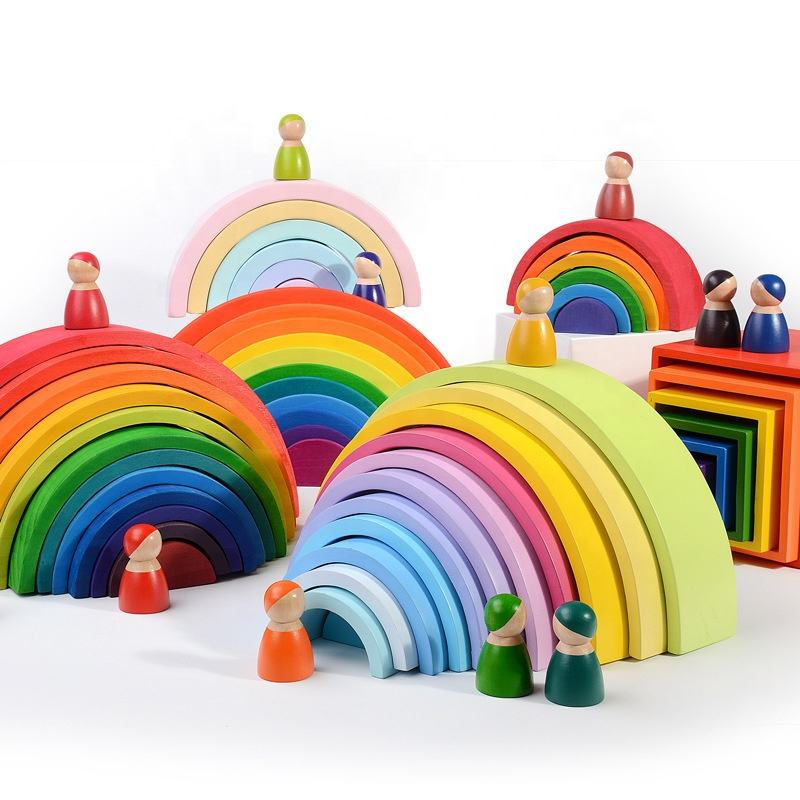 12 Pcs Building Blocks Montessori Educational Large Rainbow Stacking Wooden Toy