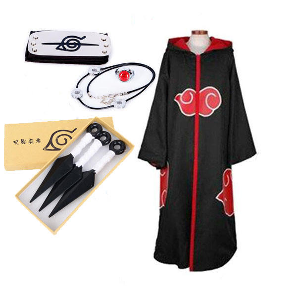 Ecowalson Anime Naruto cosplay costume Akatsuki Uchiha Itachi Shuriken Forehead Headband Accessories suits cosplay Accessories