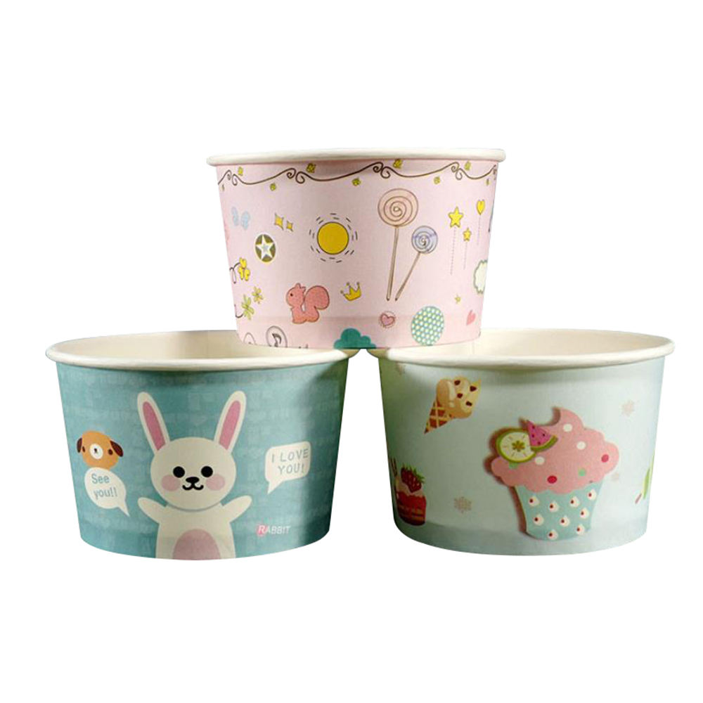 Cartoon printed thickened disposable ice cream paper cups for wholesale