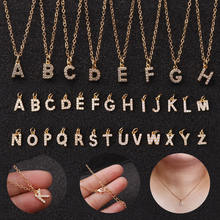 New A-Z Letters Gold Pendant Necklaces For Women Girls English Initial Alphabet Chain Jewelry Necklace