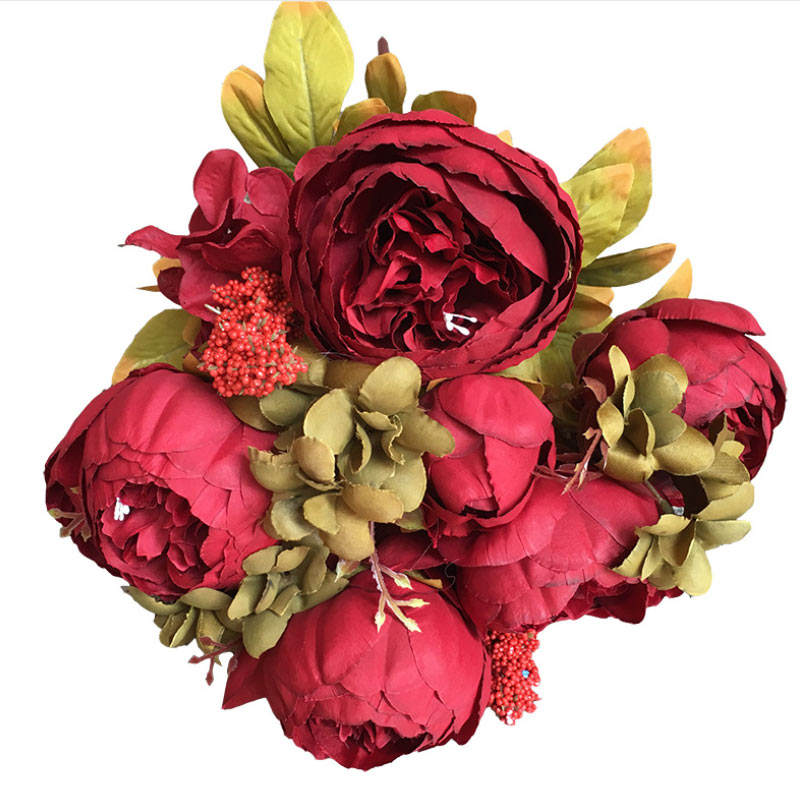 Wholesale silk artificial peony 13 heads Decorative Flowers bouquet artificial peony