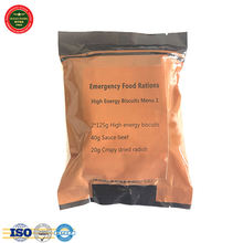 Compacted high energy food bar, emergency ration with spiced beef