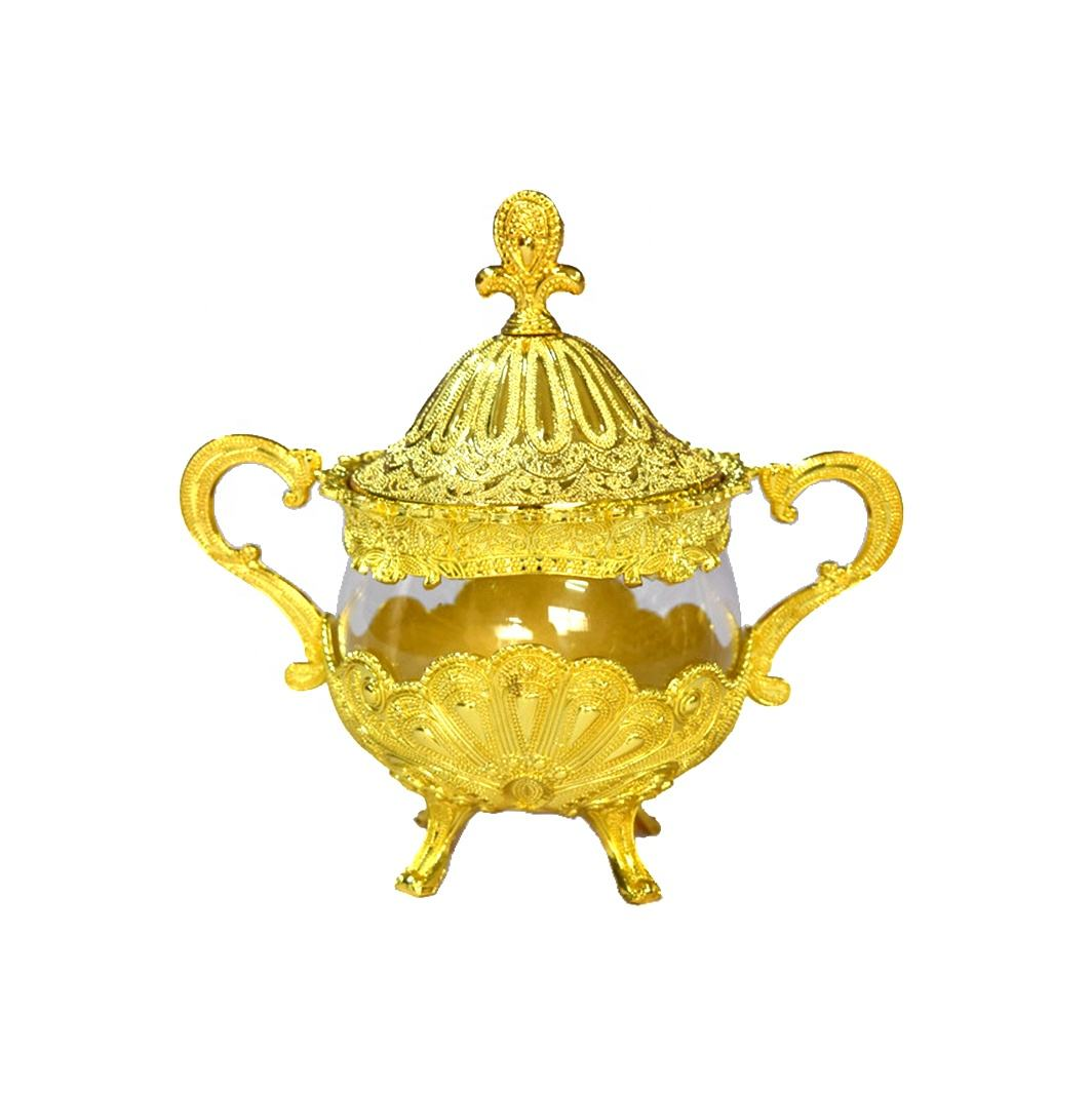 Zinc alloy cups India kitchen seasoning cup glass sugar pot gold salt bowl