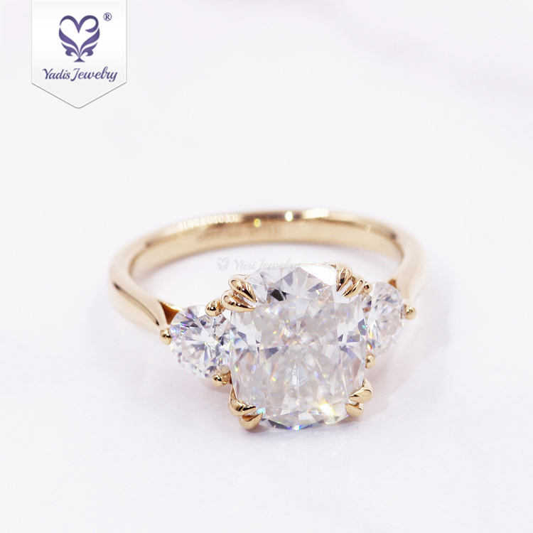 14k yellow gold double prong with 8*10 oval crushed ice cut moissanite wedding lady ring engagement 14k gold gram price