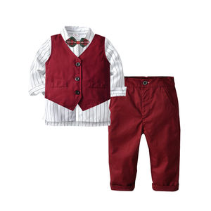 WSG134 Top Clothing Sets Gentleman Kids Clothes Set Wedding and Party Boys Clothes 3Pcs/set Shirt+Vest+Pants Boys Formal Wear