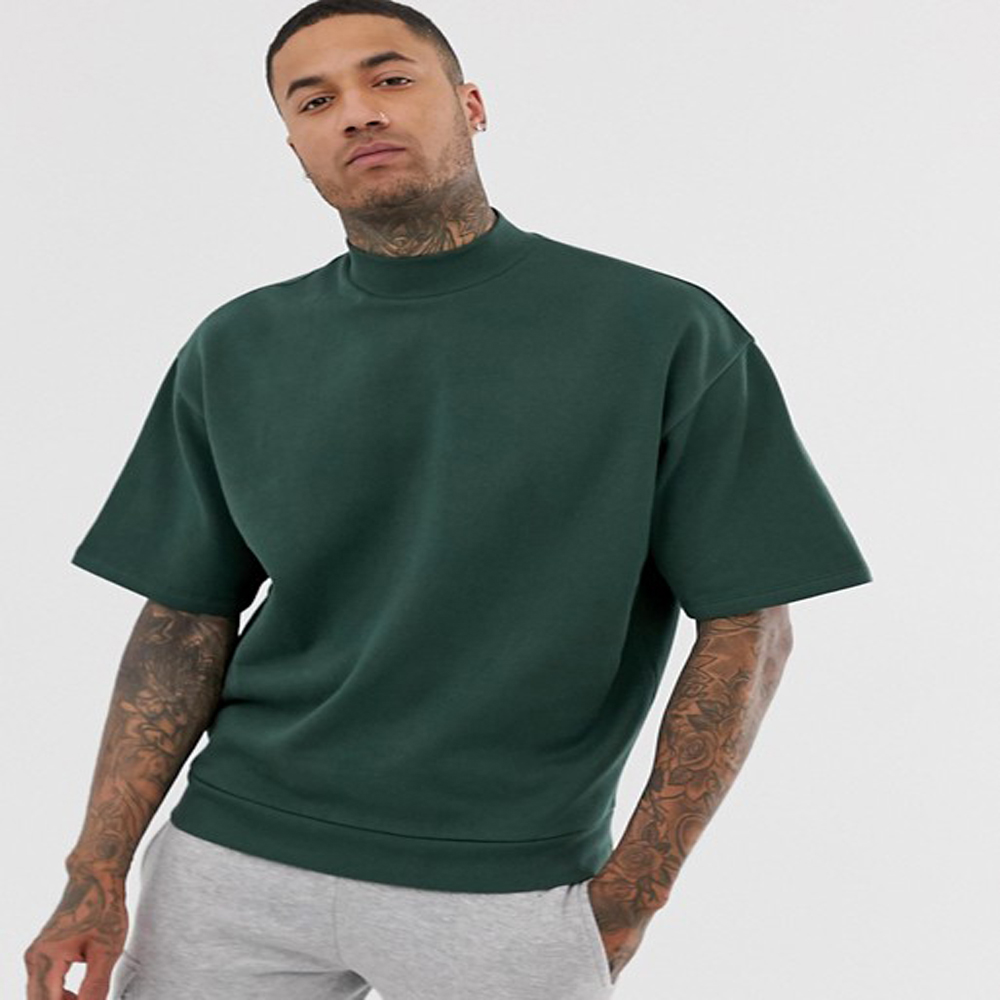 OEM Service Men Oversized Army Green Turtle Neck Dropped Shoulder Sleeves Custom T-Shirt