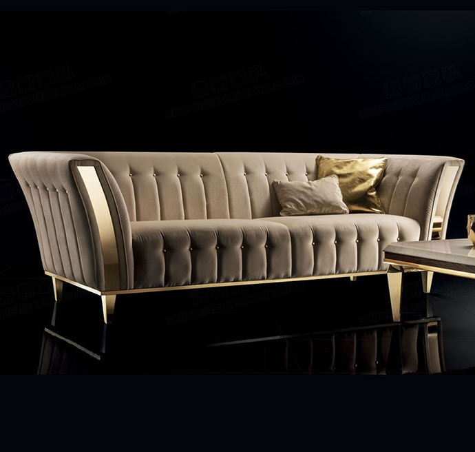 Italian original 1:1 design royal 3 seater sofa Gold steel velvet sofa
