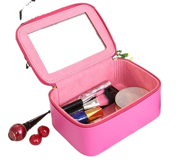 Premium gift box PU makeup case cosmetic bag with mirror for women accessories storage wholesale from Dongguan factory