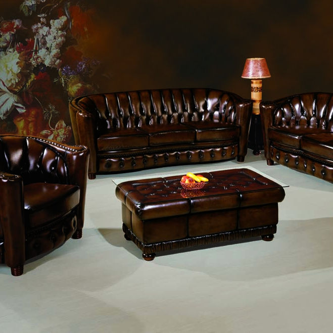 Luxury Genuine Leather with wood furniture American Style Living Room Chesterfield Sofa Set B-257