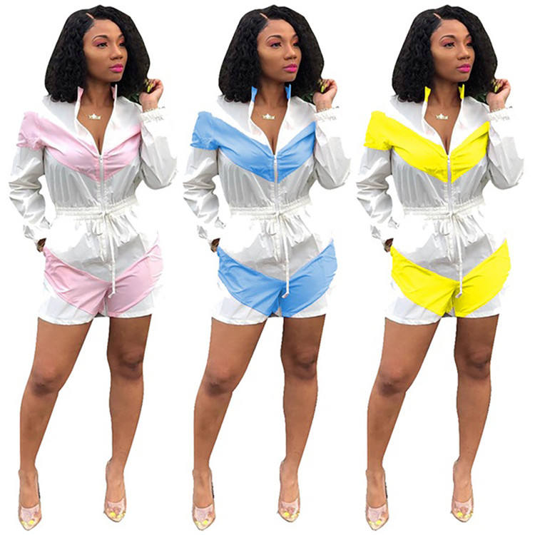 New Stylish Ladies Romper Sexy Trendy Drawstring Contrast Color Patchwork Women Clothing Summer One Piece Baggy Women Jumpsuit