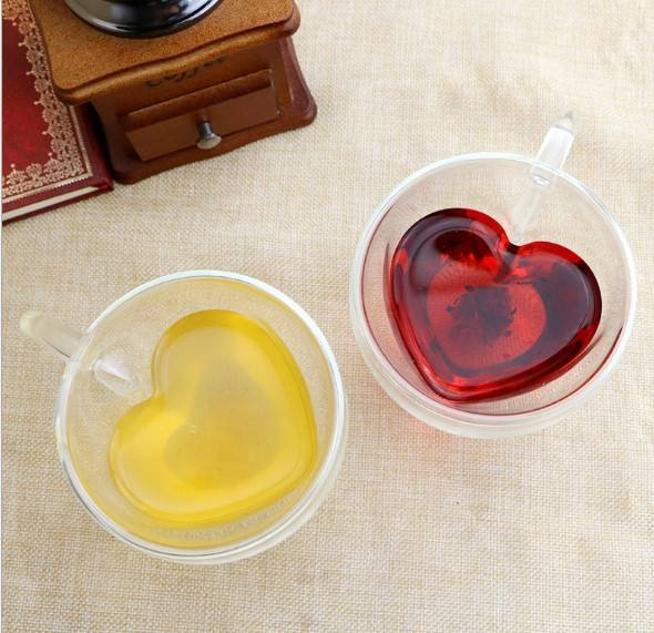 Tea Cup Heart Shaped mug Double Wall Insulated Clear Glass 8oz Tea and Coffee Cup for love souvenir gift