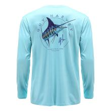 New Arrival Light Blue Long Sleeve Marlin Fishing Shirts Quick Dry  Fishing Clothing