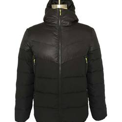 Outdoor black winter mens thick polyester hip length padded puffer jacket