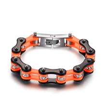 Wrap 316L Stainless Steel  Bracelet For Female jewelry Orange Black with Shiny Stone Unique Style women gift bike chain