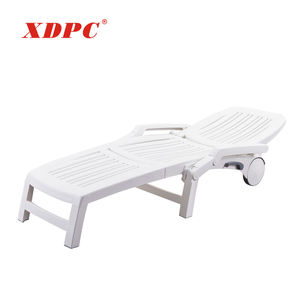 modern white plastic outdoor garden foldable beach sunbed with wheels