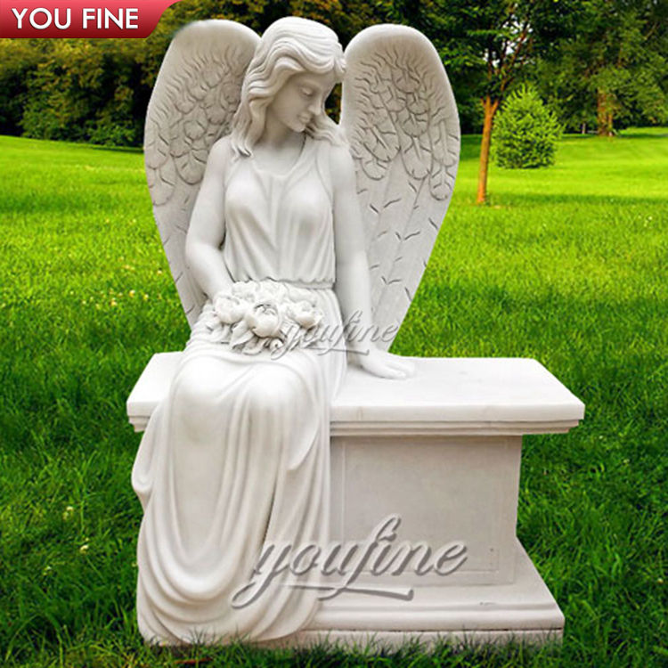 Beautiful White Marble Angel Headstone Memorial Bench Tombstone