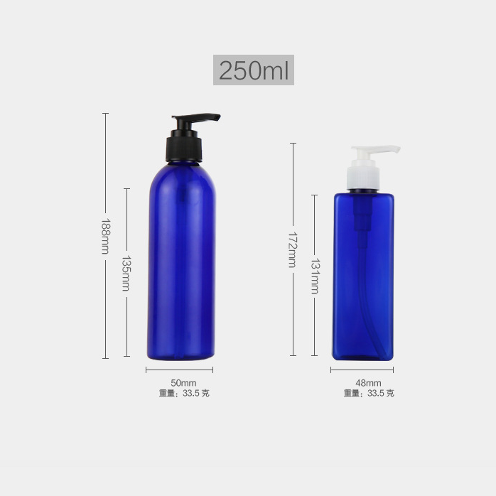 Repeatable empty 250ml pet plastic lotion bottle with spiral pump cap for shower gel hand sanitizer shampoo soap dispenser