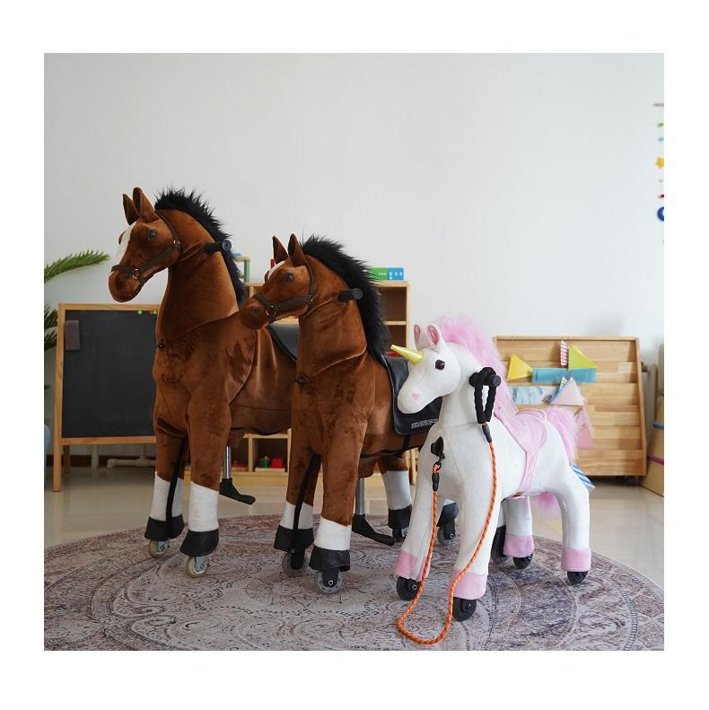 The Third Generation Rocking Horse Plush Soft Riding on Horse Pony Large Toy Baby Rocking Horse paseo de juguete