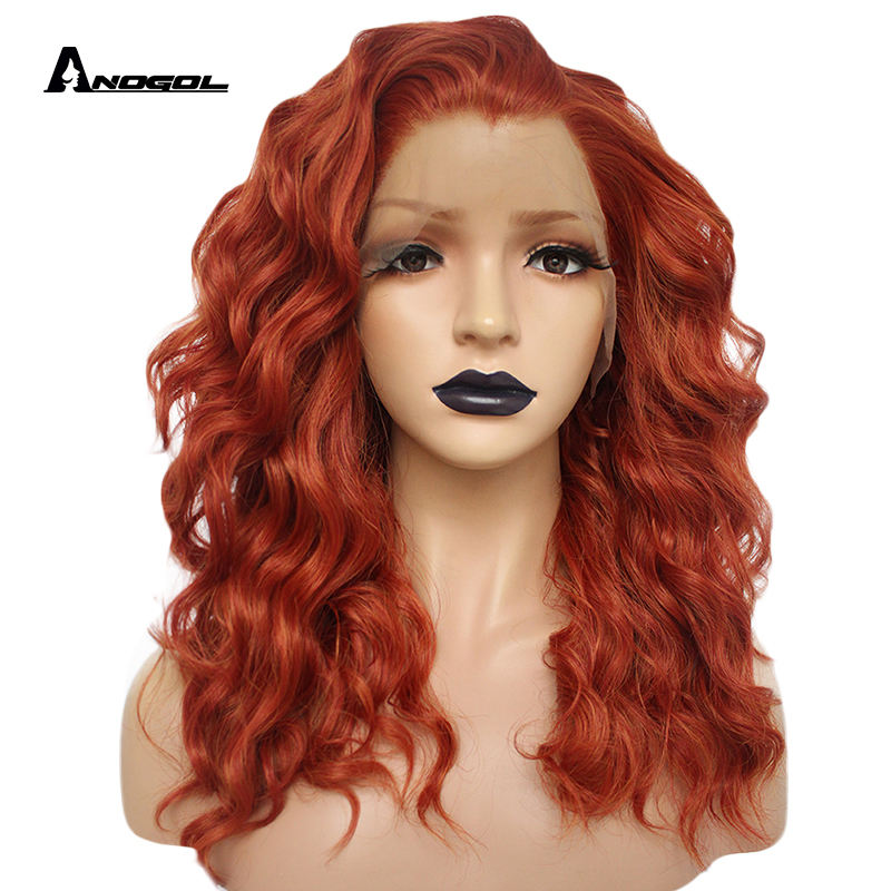 Anogol Auburn Orange High Temperature Fiber Middle Deep Wave Hair Wigs Synthetic Lace Front Wig For Women Side Part