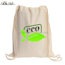 Custom Reusable Nature Cotton Canvas Gym Sack Bag Outdoor Sports Travel Drawstring Backpack