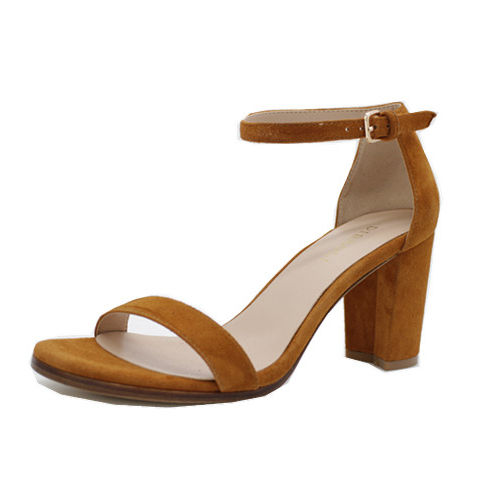 Wholesale Latest Fashion Ladies Shoes Women High Chunky Square Heels Pump Leather Ankle Buckle Strap Casual Sexy Sandals