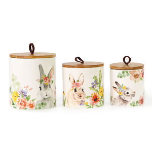 Wholesale Kitchen Ceramic Container Food Storage Jar with Lid