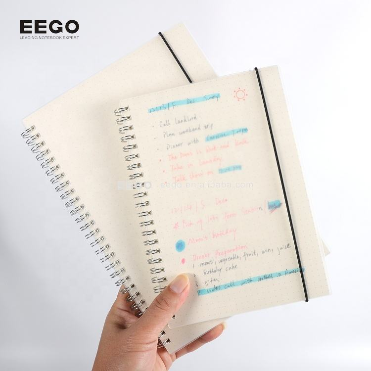 Wholesale school cheap A4 A5 A6 pp plastic cover spiral 500 sheets notebook