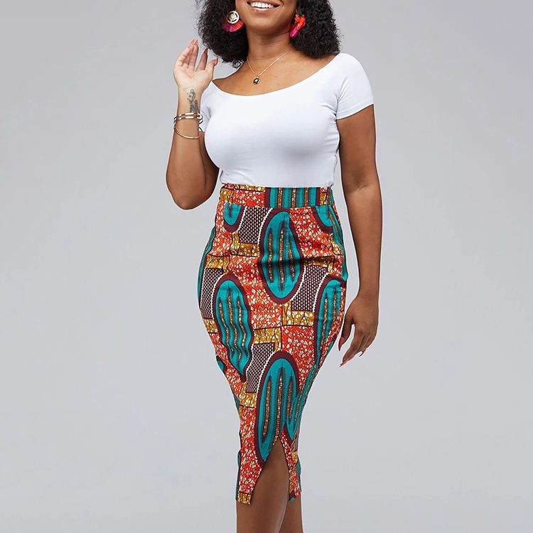 Wholesale Tavia African Print Stretch Midi Skirt African Dress Style For Woman