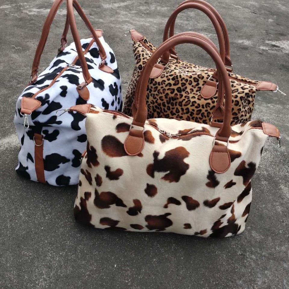 Low quantity Weekend travel bag fur cow Leopard Print Travel Bag travel luggage bags