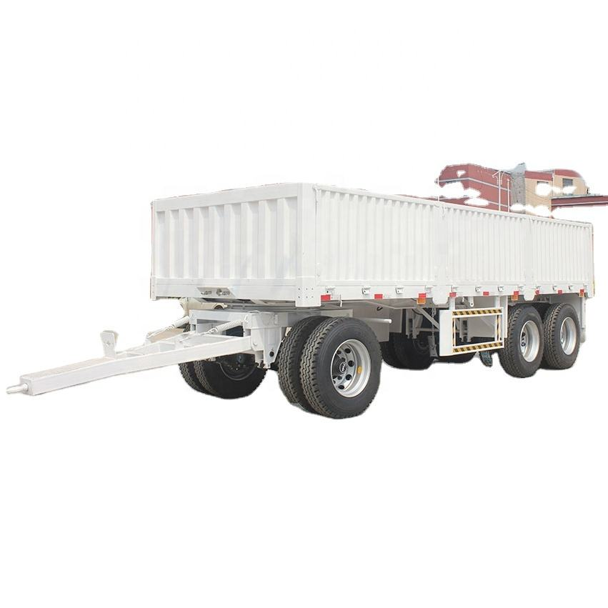 3 Axle Side Dinding Trailer Kargo Transportasi Menggambar Bar Tow Hitch Trailer