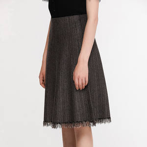 Pull On Skirt With Tassel Fringe Hem A Line Midi Skirt Black Beige