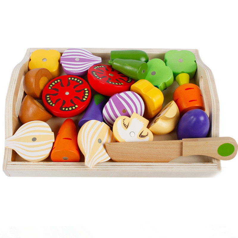 Wooden Classic Game Simulation Kitchen Series Toys Cutting Fruit Vegetable Set Toys Montessori Early Education Gifts
