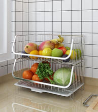 Home Wire Basket for Storage  Set of 2 Baskets - Stackable - Hanging  Wall Shelf - Fruit Vegetable Organization