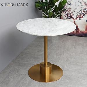 New arrival luxury round marble top stainless steel base dining table