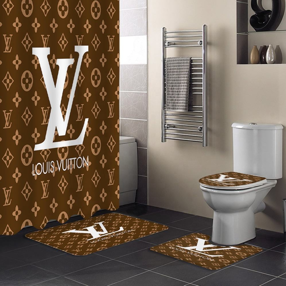 Custom Brands Logo Printing Design Toilet Lid Mat Rug Shower Curtain Bathroom Mats Set