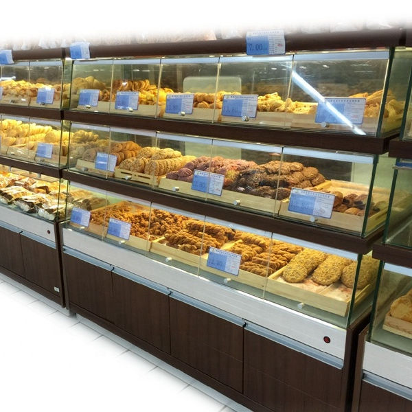 3 tier wall mounted display cabinet shelf showcase for bread bakery display racks