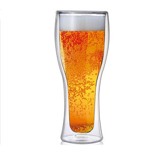 Insulated Beer Drinking Glass Double Wall Tumbler Glass Cocktail Beer Drinkware Pilsner Beer Glass