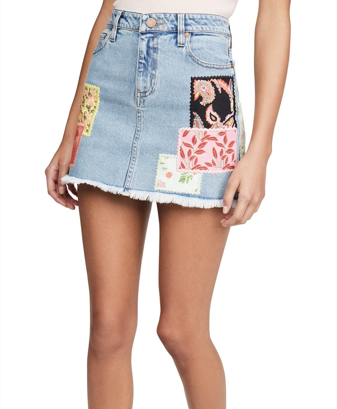 Factory custom casual embroidered appliques jeans women denim mini shorts skirt STE-070